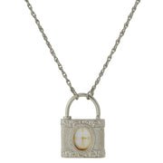 Silver Tone Lock Watch Pendant Necklace 28 In