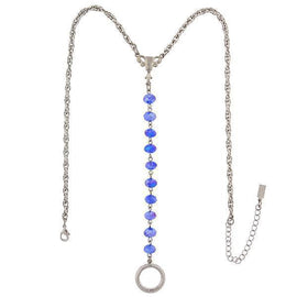 Silver-Tone Blue AB Beaded Y-Necklace Eyeglass/Badge Holder 16  Adj.