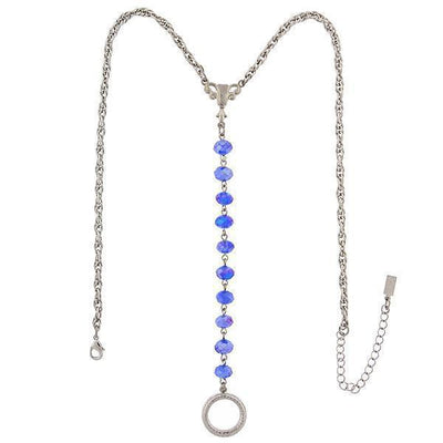 Silver-Tone Blue Ab Beaded Y-Necklace / Badge And Eyeglass Holder 16 - 19 Inch Adjustable