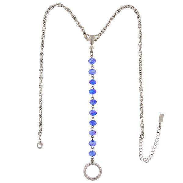 Silver Tone Blue Ab Beaded Y Necklace / Badge And Eyeglass Holder 16   19 Inch Adjustable