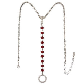 Silver-Tone Red Beaded Y-Necklace / Badge And Eyeglass Holder 16  Adj.