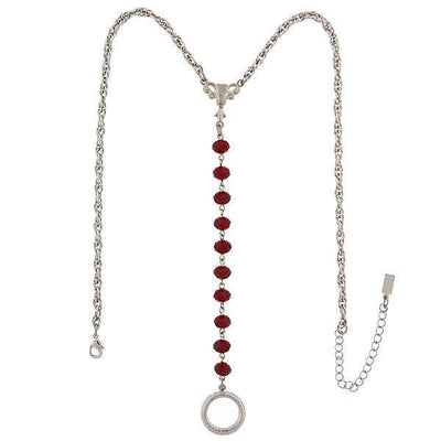 Silver Tone Red Beaded Y Necklace / Badge And Eyeglass Holder 16   19 Inch Adjustable
