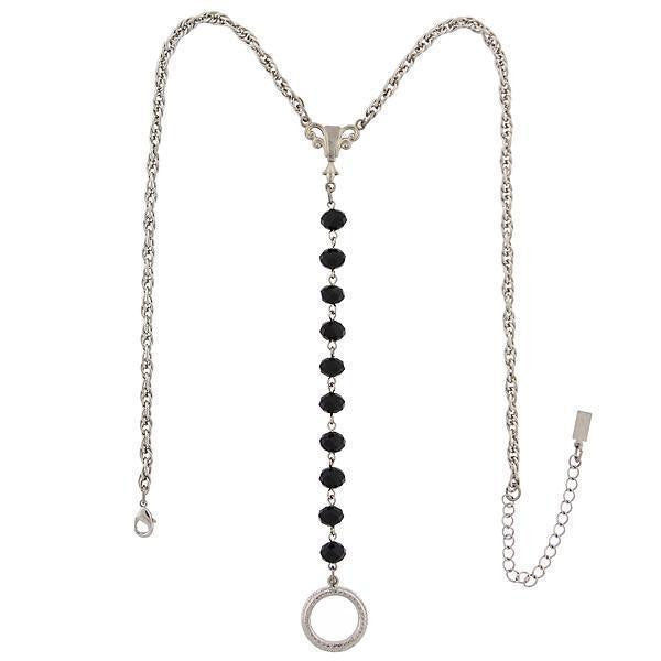 Silver Tone Black Beaded Y Necklace / Badge And Eyeglass Holder 16   19 Inch Adjustable
