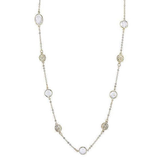 Gold-Tone Clear Crystal with Filigree Station Long Necklace 42