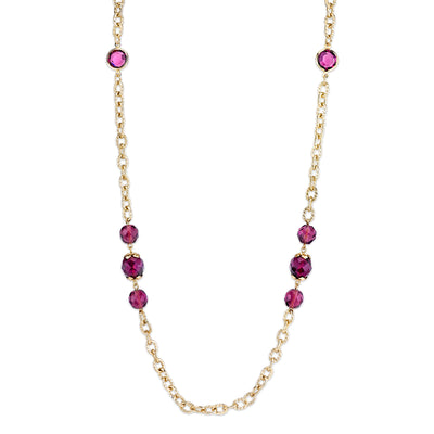 Gold Tone Chain And Purple Beaded Long Strand Necklace 42 In