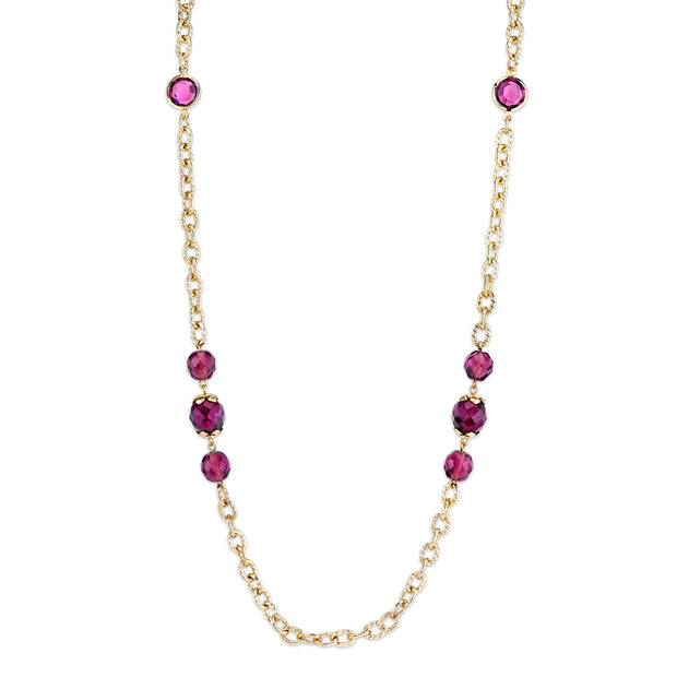 Gold-Tone Chain And Purple Beaded Long Strand Necklace 42 In