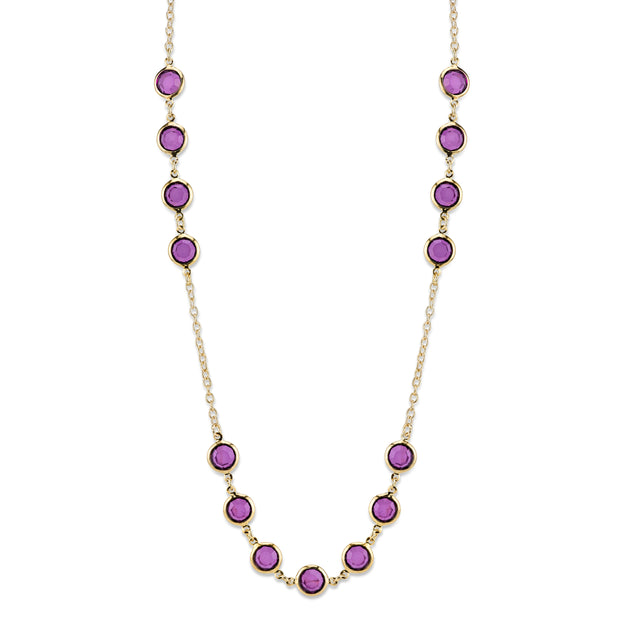 Gold-Tone Purple Long Strand Necklace 42 In