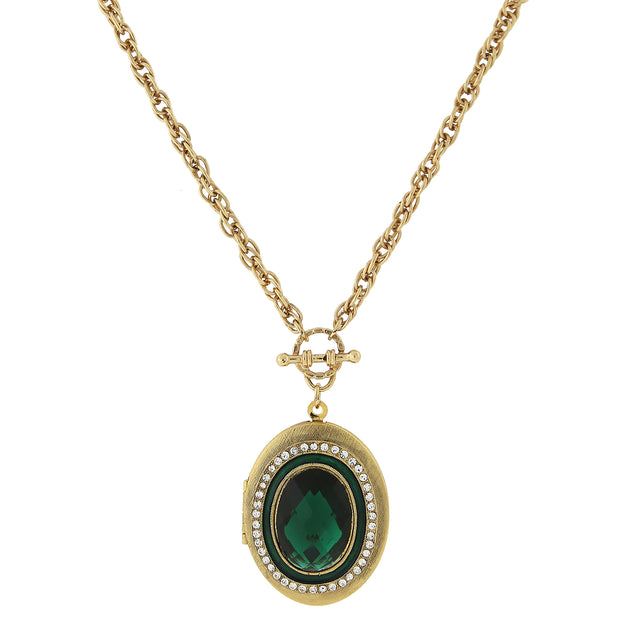 Gold Tone Crystal Accent Oval Locket 30 In Dark Green