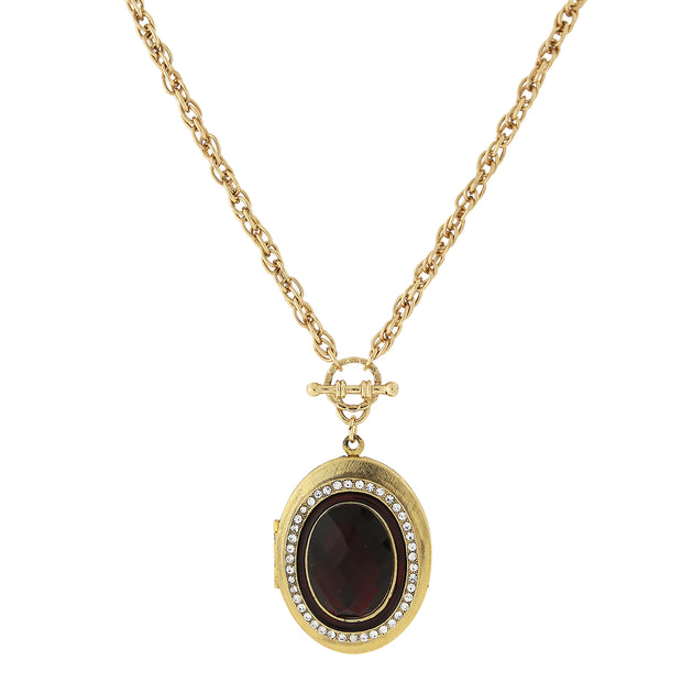 Gold Tone Crystal Accent Oval Locket 30 In Red