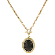 Gold-Tone Black Stone and Crystal Accent Oval Locket 30 In