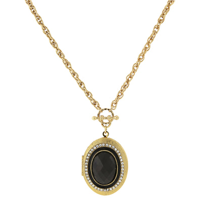 Gold-Tone Crystal Accent Oval Locket 30 In