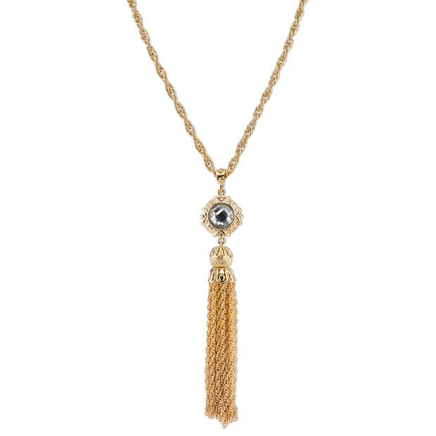 Gold-Tone And Crystal Tassel Necklace 28 In