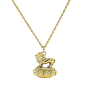 14K Gold Dipped Cecil The Lion With Topaz Color Swarovski Elements Necklace 32 In