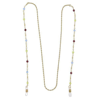 Gold Tone Multi Color Beaded Eyeglass Holder Necklace 32