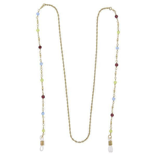 Gold-Tone Multi-Color Beaded Eyeglass Holder Necklace 32