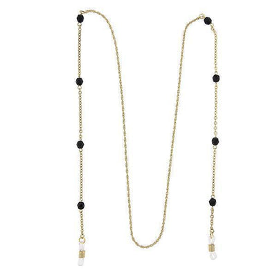 Gold Tone Black Eyeglass Holder Necklace 32