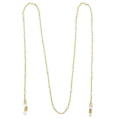 Gold-Tone White Beaded Eyeglass Holder Necklace 32