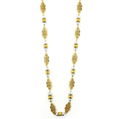 Gold-Tone Polished Grey Costume Pearl Scroll Rope Necklace 48 In