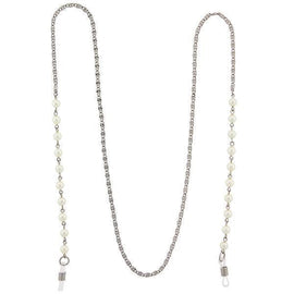 Silver-Tone White  Costume Pearl Eyeglass Holder Necklace 32