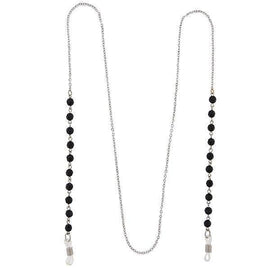 Silver-Tone Black Beaded Eyeglass Holder Necklace 32