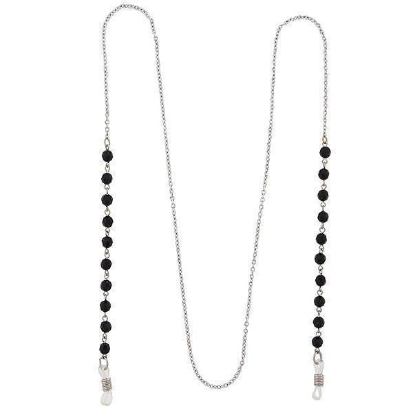 Silver Tone Black Beaded Eyeglass Holder Necklace 32