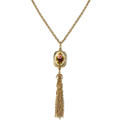 Gold Tone 3 Sided Ivory Color Floral Manor House Tassel 28 Necklace In