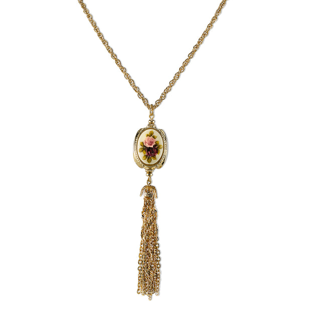 Gold-Tone 3-Sided Ivory Color Floral Manor House Tassel 28 Necklace In
