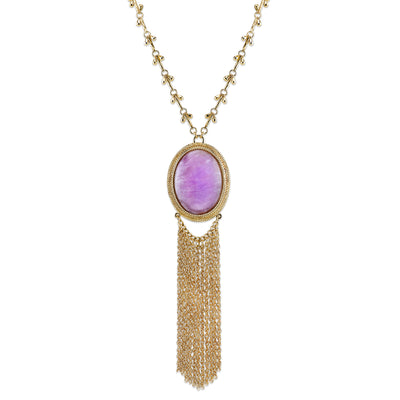 Gold Tone Purple Amethyst Gemstone Pendant Tassel Necklace 26 In Adj