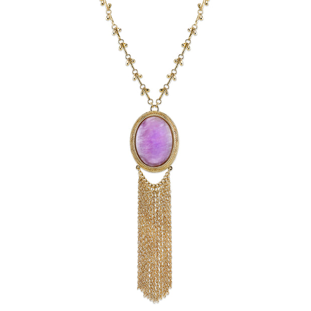 Gold-Tone Purple Amethyst Gemstone Pendant Tassel Necklace 26 In Adj