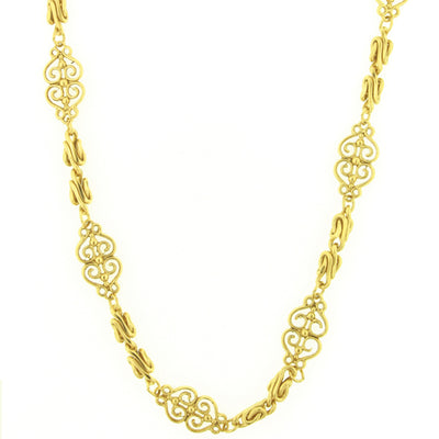 Gold-Tone Scrollwork Filigree Chain Rope 46
