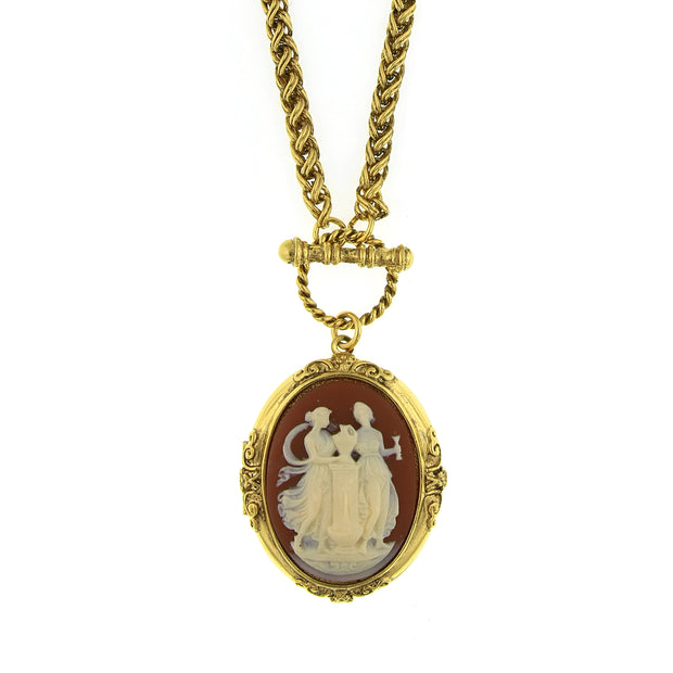 Gold Tone Carnelian Color Cameo Grecian Muses Locket Necklace 32 In