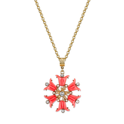 Gold Tone Coral Orange, Crystal And Costume Pearl Flower Pendant 30 In  Necklace