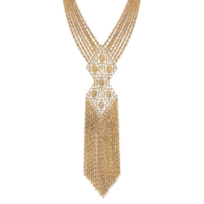 Gold Tone Filigree Tassel Fringe Statement Necklace 18 In
