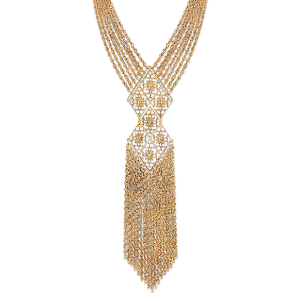 Gold-Tone Filigree Tassel Fringe Statement Necklace 18 In