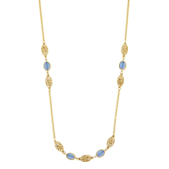 Fashion Jewelry - Gold-Tone Blue Crystal Beaded Strand Necklace