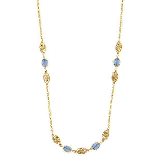 Gold Tone Blue Beaded Strand Necklace 40 In