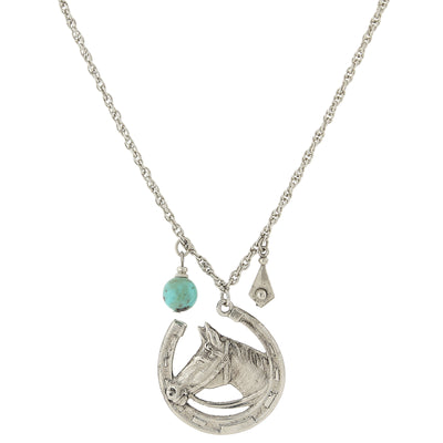 Silver-Tone Imitation Turquoise Accent Horseshoe And Horse Necklace 30 In