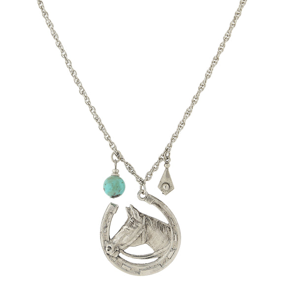 1928 Jewelry: 1928 Jewelry - Silver-Tone Imitation Turquoise Accent Horseshoe and Horse Necklace 30