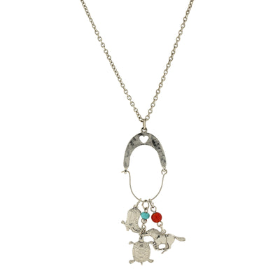 Silver Tone Multi Charm Long Necklace 30 In