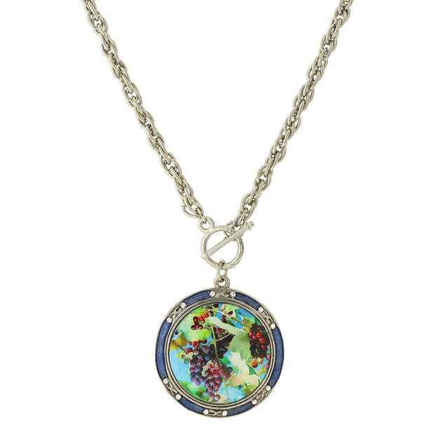Silver Tone Enamel Multi Color Grapes Decal Large Pendant Toggle Necklace 26 In