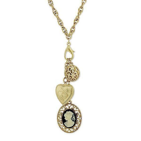 Gold-Tone Black and Ivory Color Cameo and Heart Locket Charm Necklace 26