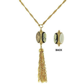 Fashion Jewelry - 14k Gold Dipped 3 Sided Cameo and Crystal Tassel Necklace
