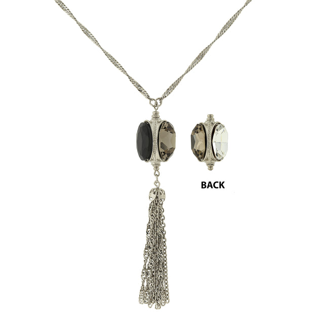 Silver Tone 3 Sided Black And Crystal Tassel Necklace 28 In