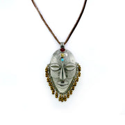 Pewter Genuine  Qtz, Carnelian, Turq,  Aztec Warrior Mask Rawhide Necklace 30 In