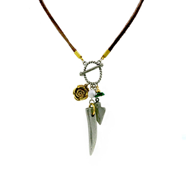 Pewter Gold Tone Genuine Malachite Charm Rawhide Necklace 30 In