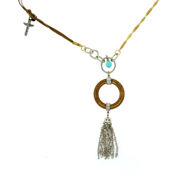 Brass Silver Tone Genuine Howlite Turq. Dyed Circle Tassle Drop Necklace 30 In