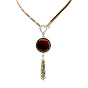 Copper Leather Genuine Tiger Eye Toggle Tassle Necklace 30 In