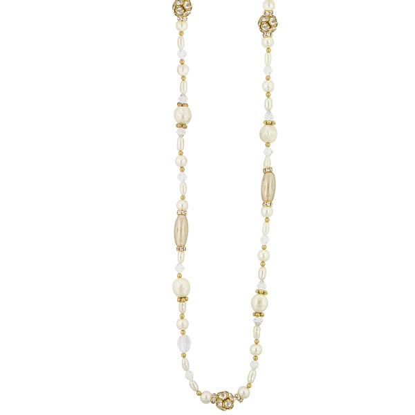 Gold-Tone Costume Pearl And Crystal Rope Necklace 38 In