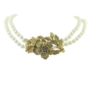 Gold-Tone And Costume Pearl With Crystal Double Strand Flower Necklace 44 In