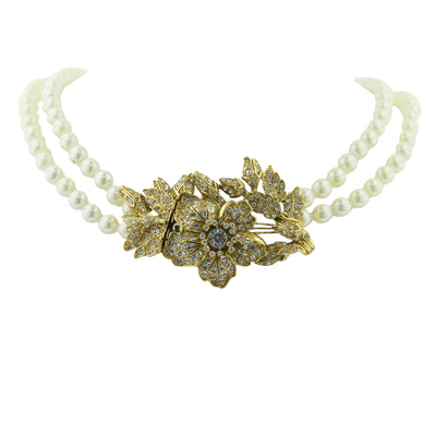 Gold Tone And Costume Pearl With Crystal Double Strand Flower Necklace 44 In